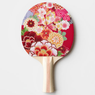 Falln Red Floral Burst Ping Pong Paddle