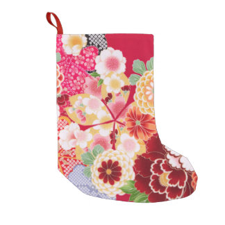 Falln Red Floral Burst Small Christmas Stocking