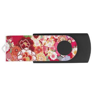 Falln Red Floral Burst Swivel USB 3.0 Flash Drive