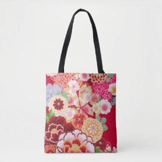 Falln Red Floral Burst Tote Bag