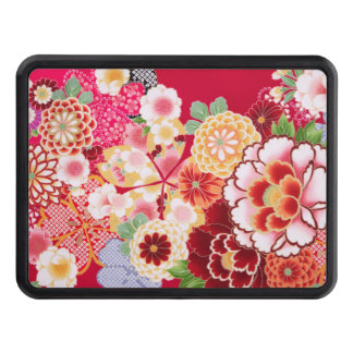 Falln Red Floral Burst Trailer Hitch Cover