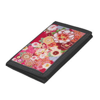 Falln Red Floral Burst Trifold Wallet