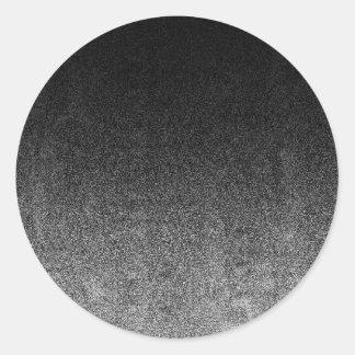 Falln Silver & Black Glitter Gradient Round Sticker