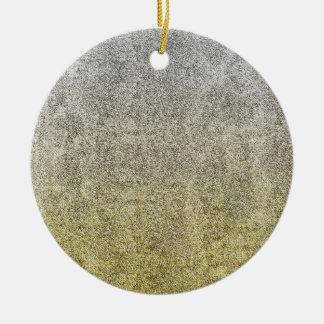 Falln Silver & Gold Glitter Gradient Round Ceramic Ornament