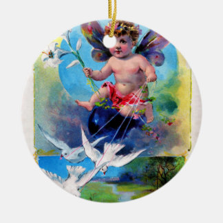 Falln Spring Time Fairy Ceramic Ornament