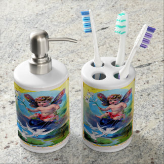 Falln Spring Time Fairy Soap Dispenser And Toothbrush Holder