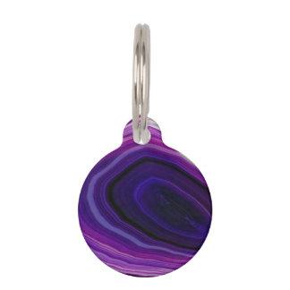 Falln Swirled Purple Geode Pet Name Tags