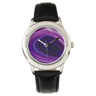 Falln Swirled Purple Geode Watch