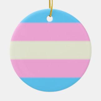 Falln Transgender Pride Flag Round Ceramic Ornament