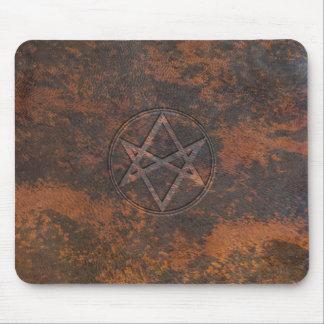 Falln Unicursal Hexagram Leather Mouse Pad