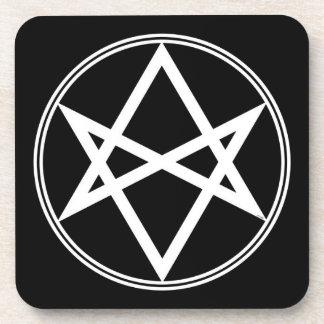 Falln Unicursal Hexagram White Coaster