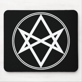 Falln Unicursal Hexagram White Mouse Pad