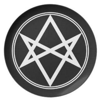 Falln Unicursal Hexagram White Party Plates