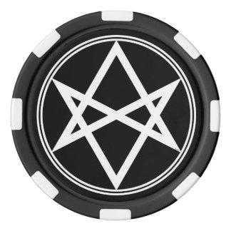 Falln Unicursal Hexagram White Poker Chips