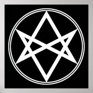 Falln Unicursal Hexagram White Poster