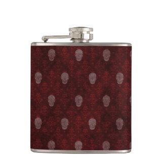Falln Victorian Skulls Red Flasks