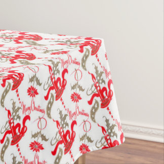 Falln Vintage Merry Christmas Candles Tablecloth