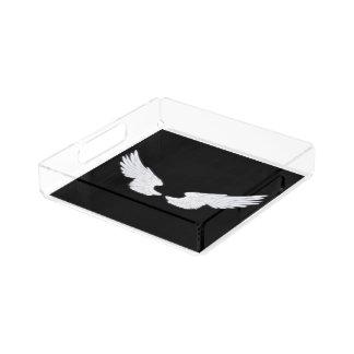 Falln White Angel Wings Acrylic Tray