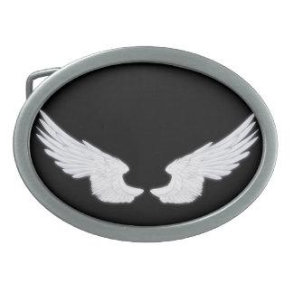 Falln White Angel Wings Oval Belt Buckles