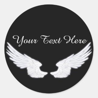 Falln White Angel Wings Round Sticker