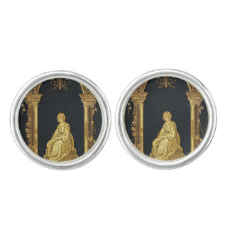 Falln Woman in Gold Book Cover Cuff Links