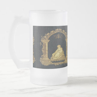Falln Woman in Gold Book Cover Frosted Glass Beer Mug