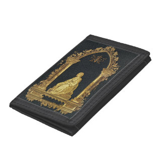 Falln Woman in Gold Book Cover Tri-fold Wallet