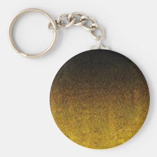 Falln Yellow & Black Glitter Gradient Basic Round Button Keychain