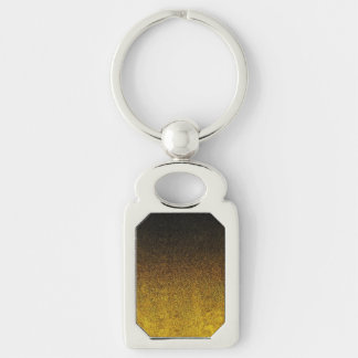 Falln Yellow & Black Glitter Gradient Silver-Colored Rectangle Keychain