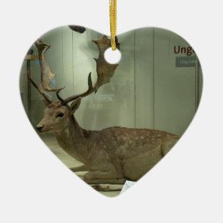Fallow deer (Dama dama) Ceramic Heart Ornament