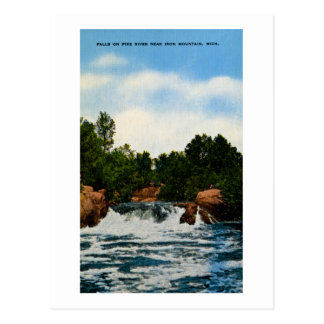 Falls on Pike River near Iron Mountain, Michigan Postcard