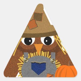 Fally the Adorable Scarecrow Owl Triangle Sticker