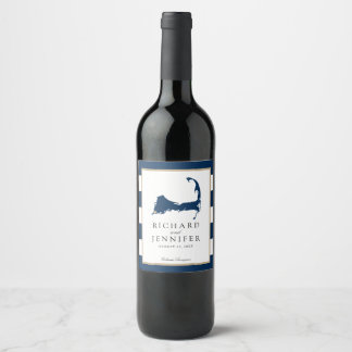 Falmouth Cape Cod Map with Blue Stripes Wedding Wine Label