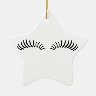 False Eye Lashes Ceramic Ornament