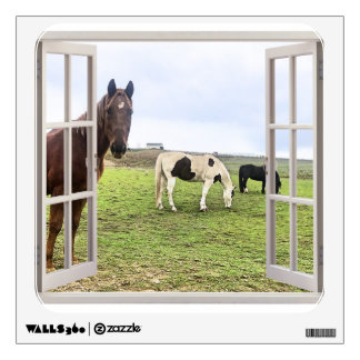 False Window Wall Decal Horses