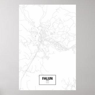 Falun, Sweden (black on white) Poster