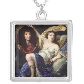 Fame Presenting a Portrait of Louis XIV Silver Plated Necklace