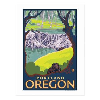 Famille de castor - Portland Orégon Cartes Postales