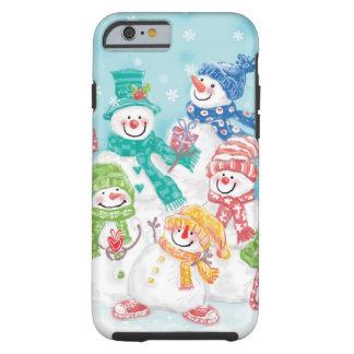Famille mignonne de bonhomme de neige de Noël dans Coque iPhone 6 Tough