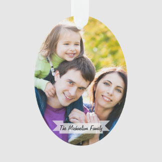 Family 2 Photo Christmas Holiday Script Modern Ornament