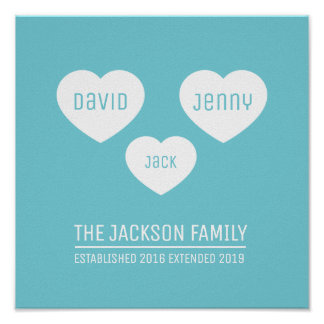 Family 3 hearts personalized timeline art poster