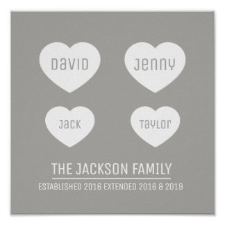 Family 4 hearts personalized timeline art poster