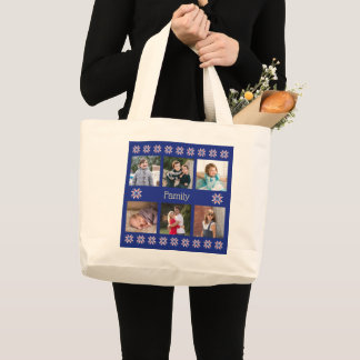 Family 6 photos custom text navy frame winter large tote bag
