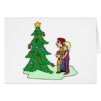 Family Admires Christmas Tree Card
