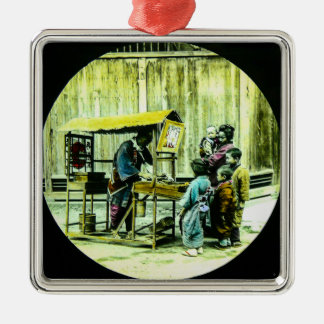 Family at Vintage Japanese Fu-manjū Stand Japan Silver-Colored Square Ornament