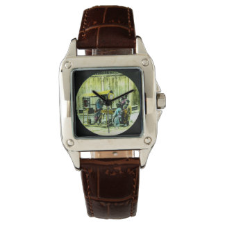 Family at Vintage Japanese Fu-manjū Stand Japan Wristwatches