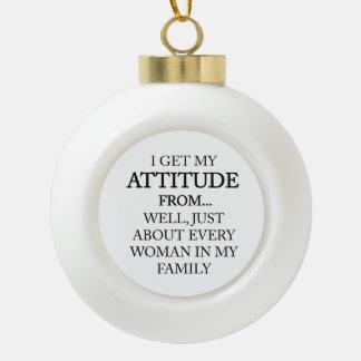 Family Attitude Ceramic Ball Christmas Ornament