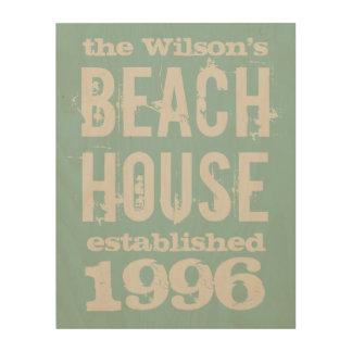 Family Beach House Customized Wood Print