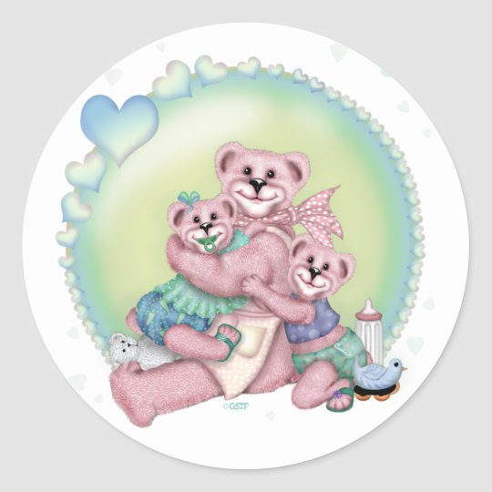 FAMILY BEAR LOVE CARTOON AutoCollant Sticker