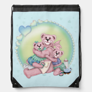 FAMILY BEAR LOVE CARTOON Drawstring Backpack 2